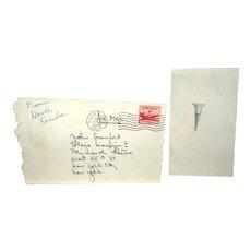 HENRY FONDA - Sketch Of A Nail, With Original Postmarked Envelope - Circa 1954