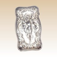 Antique Wallace Sterling Silver Match Safe (Vesta) With Sensuous Scene, Circa 1900
