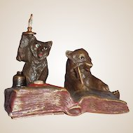 Antique Bergmann Bell Push, With Bear And Fox, Very Special!