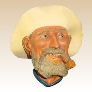 "Bossons Hand-Painted Wall Plaque -  ""Old Timer"" - Circa 1960s"