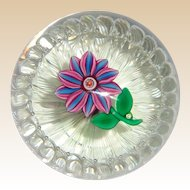 "PAUL YSART -  Signed ""Flower In A Basket""  Paperweight"