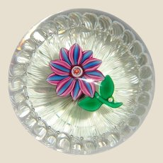"""PAUL YSART -  Signed """"Flower In A Basket""""  Paperweight"""
