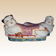 Pair of Large Chinese Vintage Ceramic Male and Female Head Rests (Pillows) Adorable!