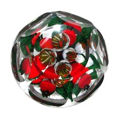 RICK AYOTTE - Faceted Magnum Hawthorn Berry Bouquet Paperweight - Signed/Dated Limited Edition