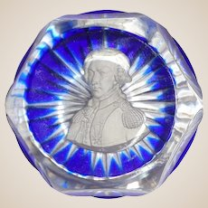 Vintage Sulfide Crystal Paperweight - Lafayette - Signed/Dated - Circa 1955