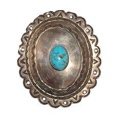 LARRY HAGMAN - Turquoise And Metal Belt Buckle