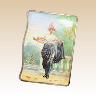 French Enamel Match Safe (Vesta) -Unusual and Rare - Scenes Inside And Out!  Circa 1880 - 1890
