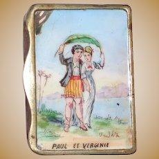 Antique French Enamel Match Safe (Vesta) - Paul and Virginie, Circa 1890