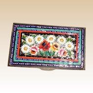 Beautiful Micro Mosaic Small Box With Sun Flowers, Roses, Buds, Foliage - Circa 1890