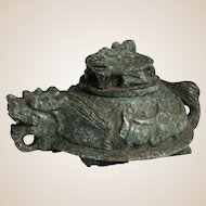 Chinese Carved Green Stone Dragon Censer with Dragon Lid
