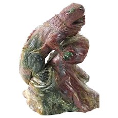 Large Rhodonite Iguana Sculpture, Perched On Rocks, Signed