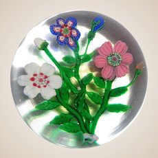 EXTREMELY RARE Antique Clichy Three Flower Bouquet Paperweight