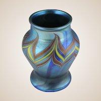 Lundberg Studios - Strikingly Beautiful Pulled Feather Vase - Signed, Dated