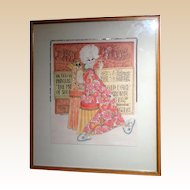 "PHYLLIS DILLER Estate - Original Drawing - Mixed Media, Signed ""Kimura"""