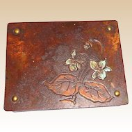 Austrian Art Nouveau Bronze Stamp Box, Circa 1910, Rare and Charming