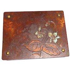 Austrian Art Nouveau Bronze Stamp Box, Circa 1910, Rare and Charming