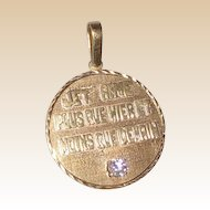 Custom 14k Gold Pendant With Diamond -With The Most Romantic Hand Carved Lettered Inscription, Circa 1978.
