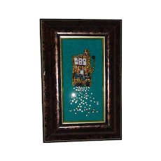 PHYLLIS DILLER (Estate) - Adorable Small Beaded Mosaic Image Of A Slot Machine Spewing Coins!