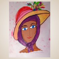 "PHYLLIS DILLER  (American July 17, 1917 – August 20, 2012)- ""Bonnie"" -Original Oil On Canvas,  Signed"