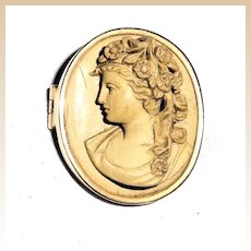Stunning Lava Cameo In High Relief - 14k Bezel - Circa 1800s