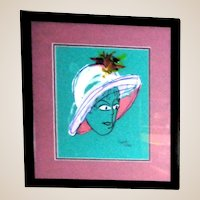 """PHYLLIS DILLER (American 1917 – 2012) - """"Tiffany"""" -Original Signed Mixed Media On Paper"""
