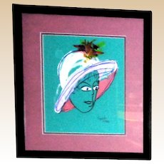 "PHYLLIS DILLER (American 1917 – 2012) - ""Tiffany"" -Original Signed Mixed Media On Paper"