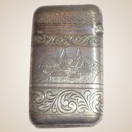 Antique American Match Safe (Vesta);  Front - River Boat With American Flag, Reverse - Riverfront Town c 1875