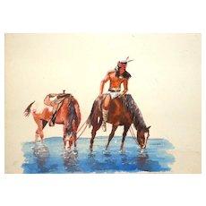 Original Watercolor - Indian On Horseback At Water - Signed Carlton