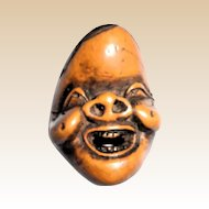 Carved Wood Netsuke In Form Of A Mask -Circa late 1800s