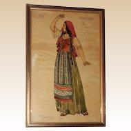 HELEN STEVENSON WEST - Original Otello Costume Design, Signed and Dated 1934