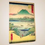 """HIROSHIGE - """"Kanbara Station"""" Color Woodblock Print, Circa 1855"""