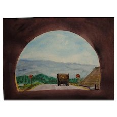 "CARLTON (American Artist 20th Century) - ""End Of The Tunnel"" - Original Watercolor, Signed"