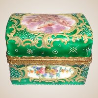 Antique Enamel Perfume Casket With Two Scent Bottles - Wonderful and Rare