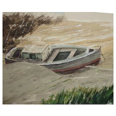 "CARLTON (American Artist) - ""Safe Harbor"" - Original Watercolor, Signed"