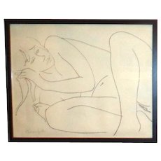 ALAIN BONNEFOIT  - Original Signed Drawing Of A Nude - Outstanding!