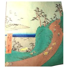 "Color Woodblock Print - ""Shirasuka – view from the Shiomi hillside"" - By Hiroshige, c 1855"
