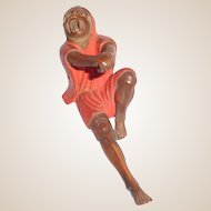 Antique Lacquered Wood Okimono Of Man In Pain - Inlaid Eyes - 19th Century