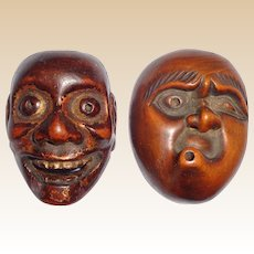 Antique Carved Wood Mask Netsukes,  Signed Deme Joman and Iko