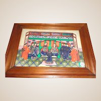 Antique Chinese Rice Foam Painting, Elaborately Detailed Court Scene