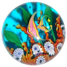 STEVEN LUNDBERG  Coral Reef Scene Art Glass Paperweight - Large And Very Special