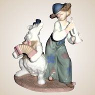 Multi-Figural Porcelain Of Circus Clown And Bear Duet - Adorable!