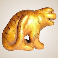 Antique Carved Wood Tiger Netsuke