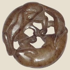 Antique Jade - Circular Carving Of Two Animals