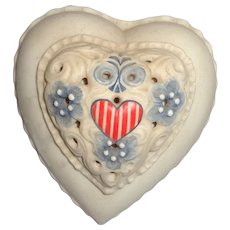 Stars and Stripes Heart-Shaped Lidded Box by Cybis, Signed