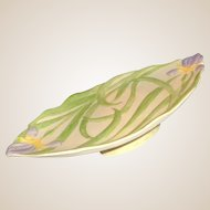Cybis Bisque Pedestal Dish With Iris Flowers and Soft Toned Green Leaves