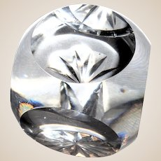 Fascinating Crystal Cube Paperweight, Five Facets, Starcut Base