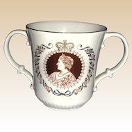 Royal Doulton Loving Cup Commemorating Queen Elizabeth's 80th Birthday, circa 1980