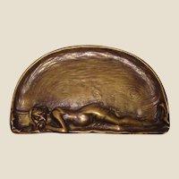 Art Nouveau Austrian Bronze Tray With Bathing Beauty Lying On The Beach