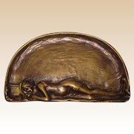 Art Nouveau Austrian Bronze Tray With Bathing Beauty Lying On The Beach