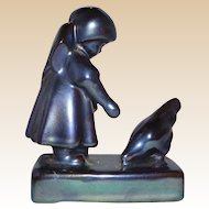 Zsolnay Blue Eosin Pottery Girl With Chicken, Hungary, circa 1960s